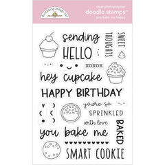 Made With Love - Doodlebug - Clear Doodle Stamps - You Bake Me Happy