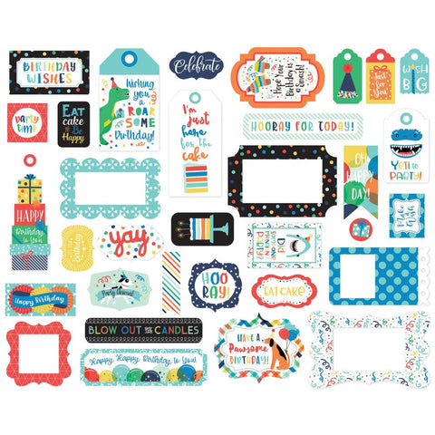 It's Your Birthday (Boy) - Echo Park Cardstock Ephemera 33/Pkg - Frames & Tags