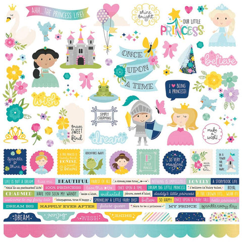 "Little Princess - Simple Stories - Cardstock Stickers 12""X12"" - Combo"