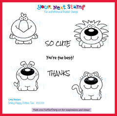 Smiley Happy Critter Crew Set Two (cling stamp set)