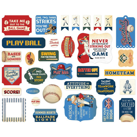 Baseball - Carta Bella - Cardstock Ephemera 33/Pkg - Icons