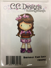 Birthday Cake Lucy Rubber Stamp - C.C. DESIGNS