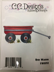 Red Wagon Rubber Stamp - C.C. DESIGNS