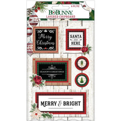 Joyful Christmas - BoBunny - Adhesive Layered Chipboard 8/Pkg  W/Red Glitter Accents