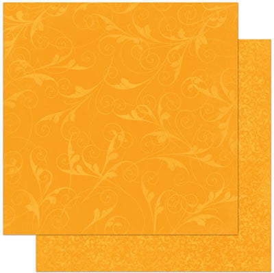 "BoBunny Flourish Double-Sided Textured Cardstock 12""X12"" - Orange Citrus Flourish"