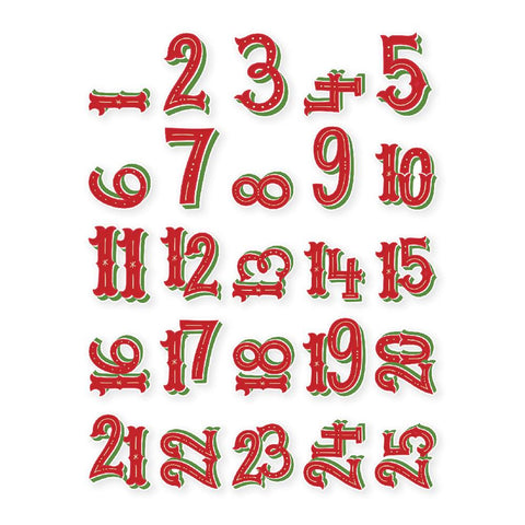 Very Merry Pocket Pieces Die-Cuts 25/Pkg - Numbers 1 Through 25