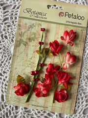 Petaloo - Botanica Collection - Faux Dried Floral Ephemera - Red
