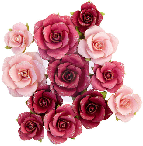 Pretty Mosaic - Prima - Mulberry Paper Flowers - Red Quartz