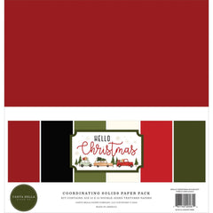 "Hello Christmas - Carta Bella - Double-Sided Cardstock 12""X12"" 6/Pkg - Solids"