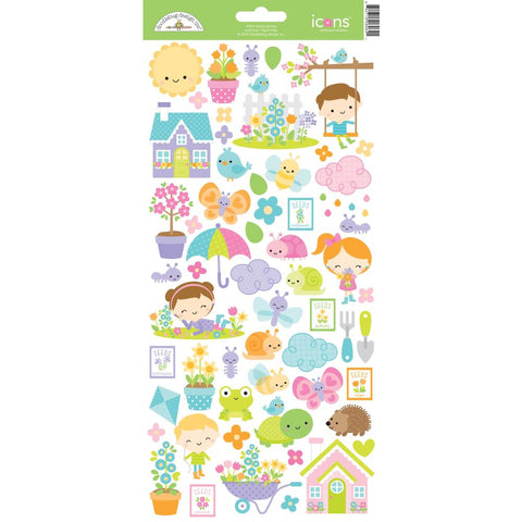 Simply Spring  - Doodlebug Cardstock Stickers - Icons