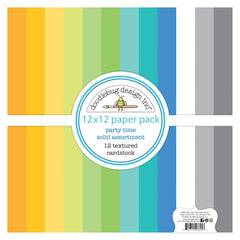 "Party Time - Doodlebug - Double-Sided Cardstock 12""X12"" 12/Pk - Textured"
