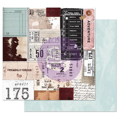 Midnight Garden - Prima Marketing - Double-Sided Cardstock 12X12 - Traveling Tickets