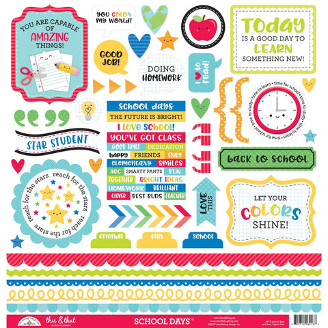 "School Days - Doodlebug - Cardstock Stickers 12""X12"" - This & That"