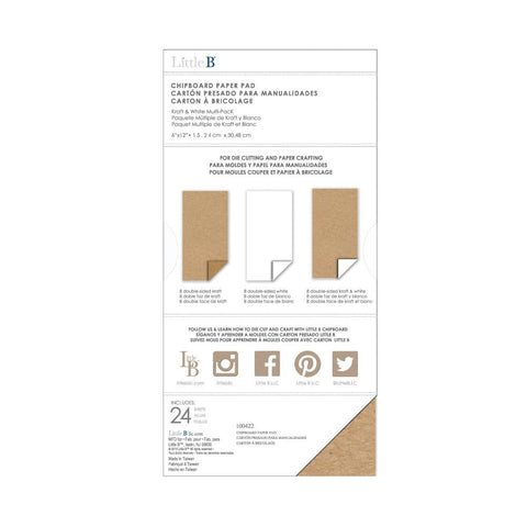 "Chipboard Pack 6""X12"" 24/Pkg - Kraft, White & Kraft/White"