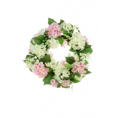 Pink and Cream Hydrangea Wreath