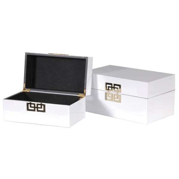 Set of Two White & Gold Detail Boxes