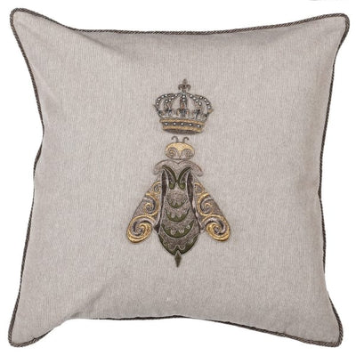 Crowned Bee Beige Cushion