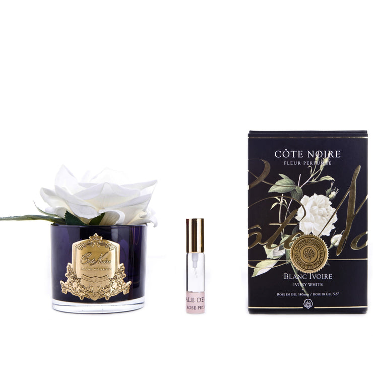 Côte Noire Real Touch Single Rose Diffuser Ivory White In Dark Glass