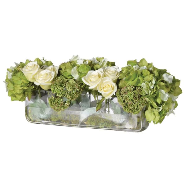 Lime & Cream Hydrangea, Rose & Sedum Arrangement in Low Glass Vase