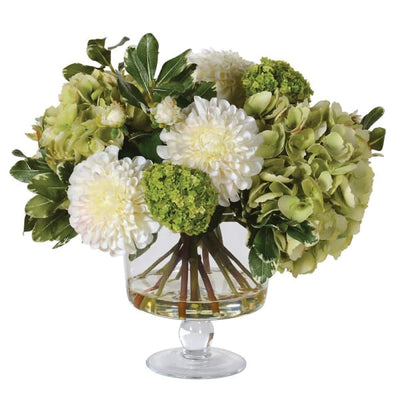 Mixed White and Greens Hydrangeas and Dahlia Floral Arrangement in Glass Footed Bowl