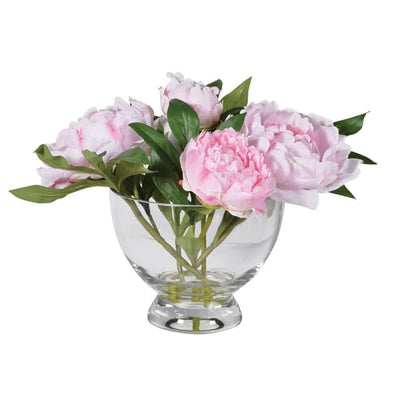 Pale Pink Peonies in Glass Footed Bowl