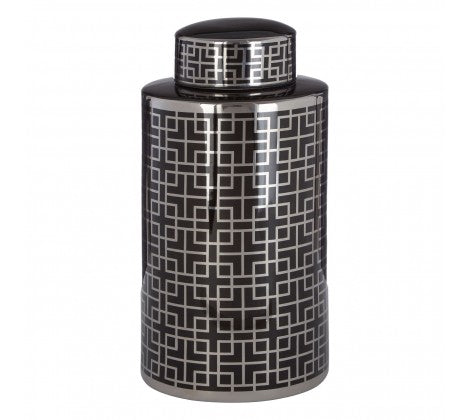 Large Black and Silver Square Pattern Ceramic Jar