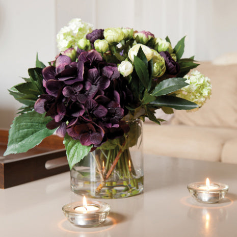 Mixed Amethyst Flowers with Cylinder Vase