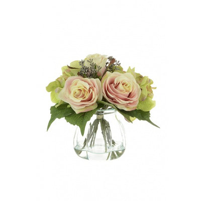 Pink Rose and Hydrangea in Curve Vase