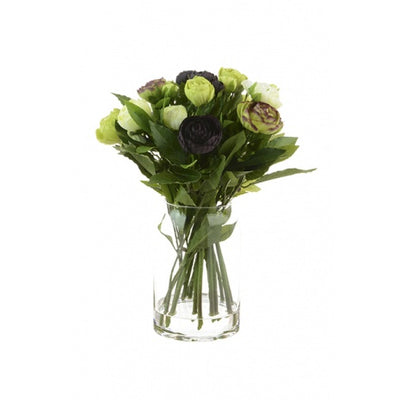 Tall Green Aubergine Ranunculus Bouquet in Glass Vase