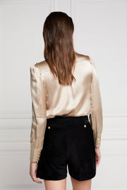 Holland Cooper Silk V-Neck Blouse Champagne