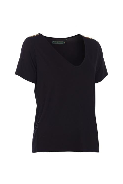 Holland Cooper Relax Fit Vee Neck Tee - Black, White, Ice Marl