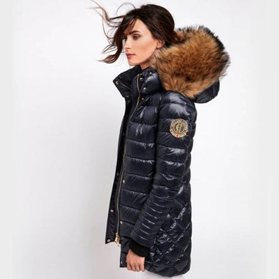 Holland Cooper St Moritz Faux Fur Trim Down Quilted Parka - Ink Navy