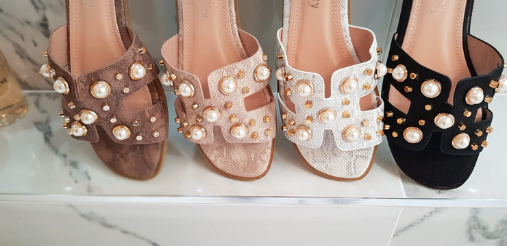Inspired Pearl & Gold Stud Sandals in Light Khaki
