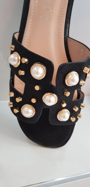 Inspired Pearl & Gold Stud Sandals in Black