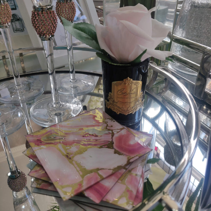 Pink & Gold Marble-Effect Coasters (Set of 4)