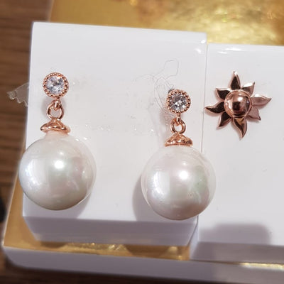 Pearl & Crystal Rose Gold Plated Drop Earrings