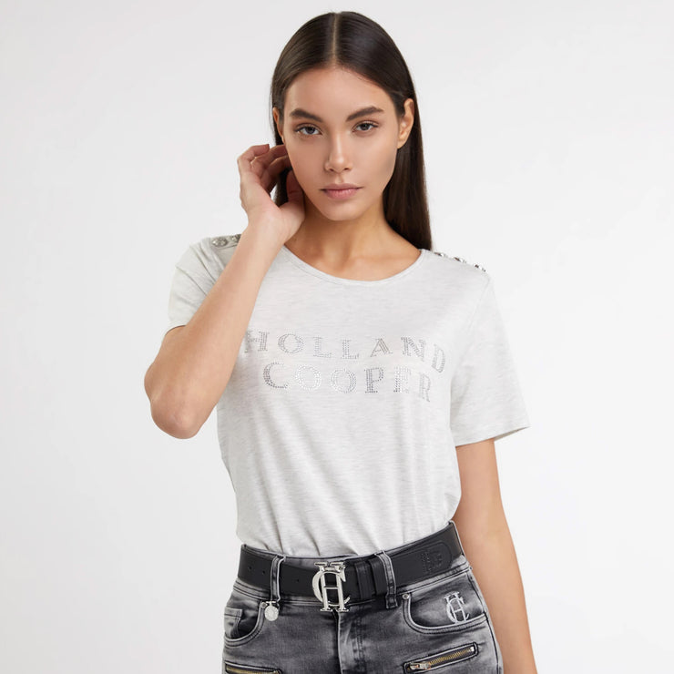 Holland Cooper Relax Fit Metallic Crew Neck Tee - Ice Marl
