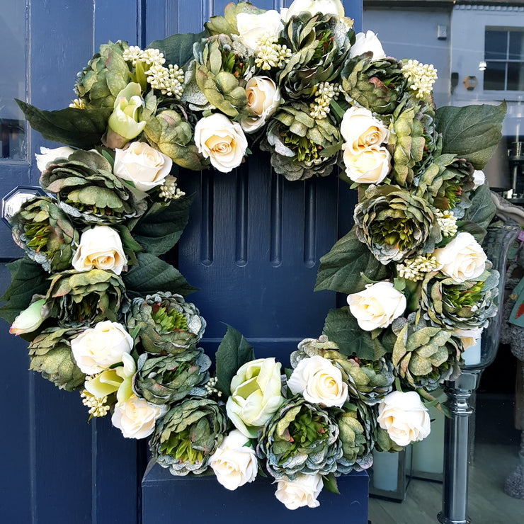 Cream Spring Rose Wreath