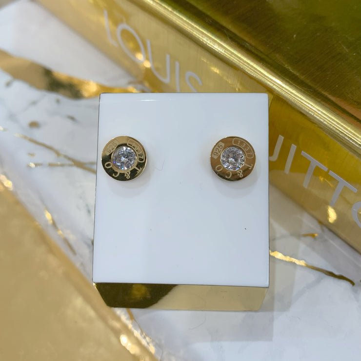 Gold T iffany Diamonte Detail Earrings