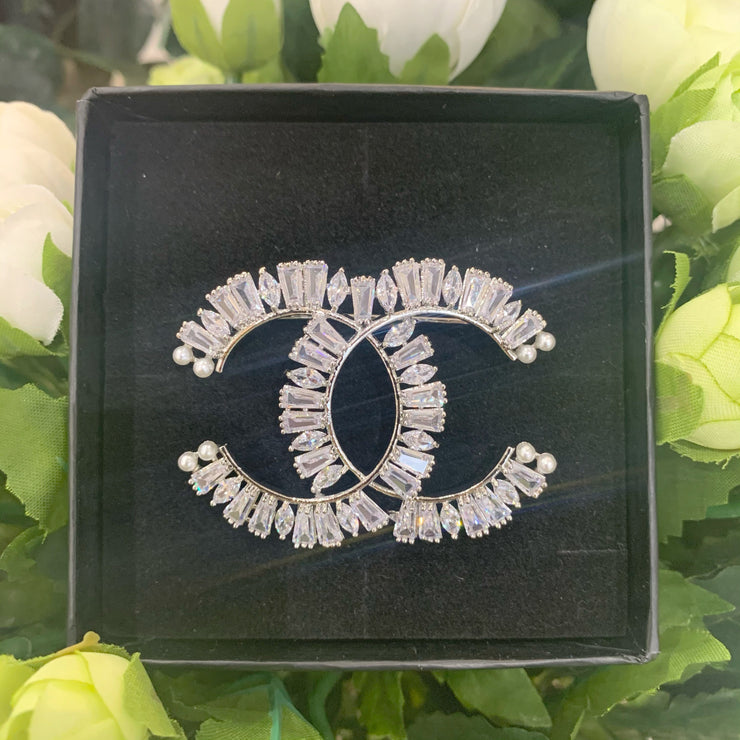 CC Silver Crystal Detail Brooch