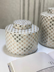 Small Gold & White Cross Patterned Tea Jar