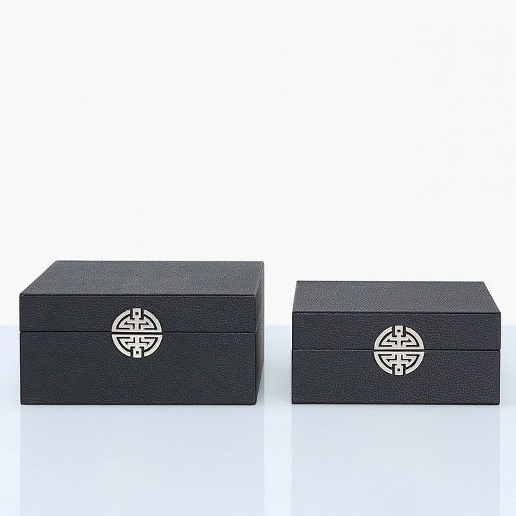 Set Of 2 Black Faux Leather Jewellery Boxes
