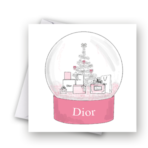 Pink Fashion Snow Globe Christmas Card