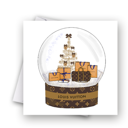 Brown Fashion Snow Globe Christmas Card