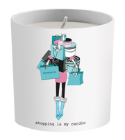 """Shopping Is My Cardio"" Tiffany Shopping Candle"