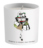 """Shopping Is Cheaper Than Therapy"" Gu cci Shopping Candle"
