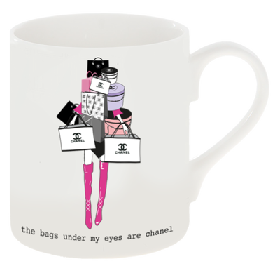 """The Bags Under My Eyes Are Ch anel"" Inspired Shopping Mug"