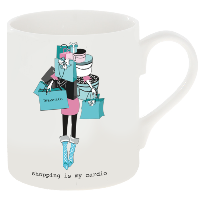 """Shopping Is My Cardio"" Tiff any Inspired Shopping Mug"