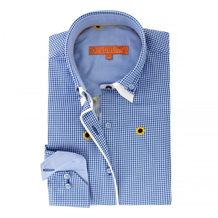 Claudio Lugli Gingham Sunflower Shirt