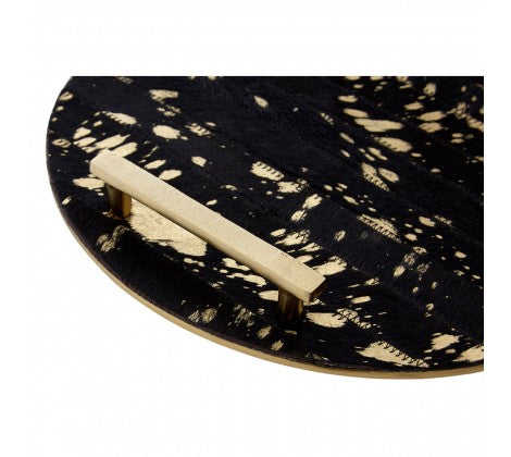Gold detail Cowhide Tray